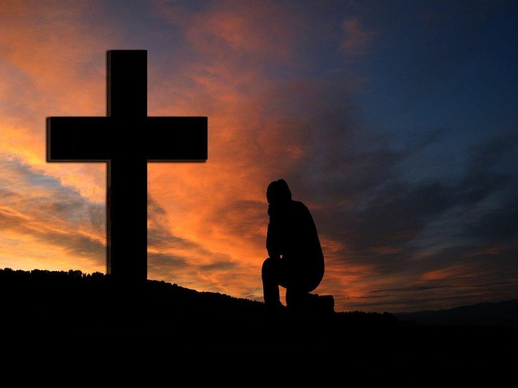 cross, sunset, silhouette